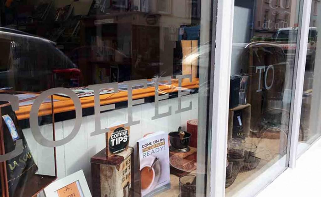 cafe and shop signage